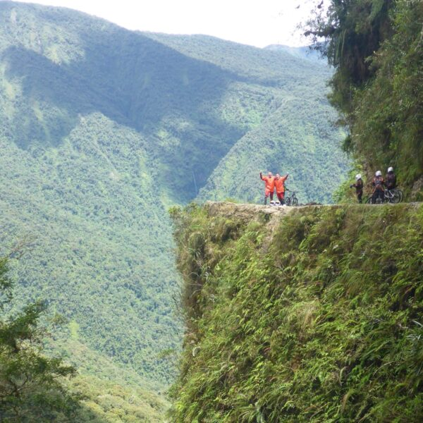Mountainbiken op de Death Road in Bolivia